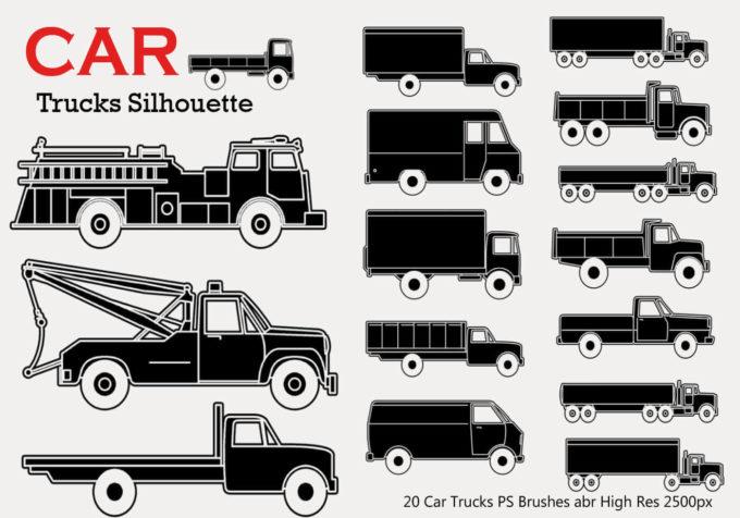 フォトショップ ブラシ Photoshop Car Brush 無料 イラスト 車 カー 20 Car Truck Silhouette PS Brushes