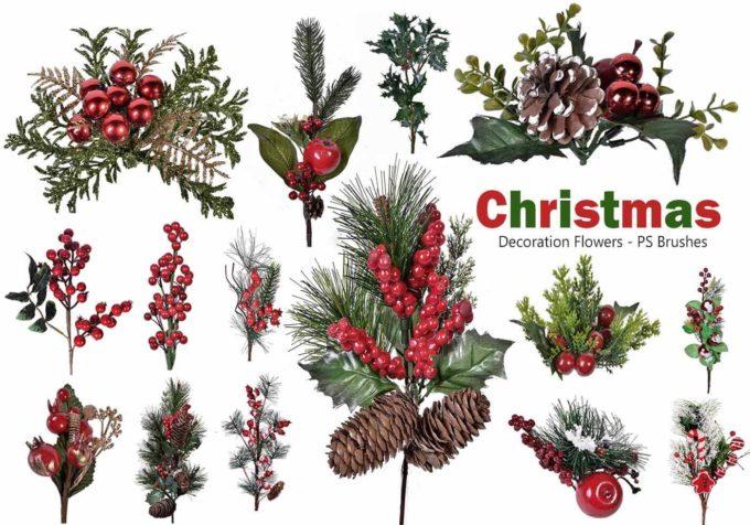 フォトショップ ブラシ 無料 クリスマス サンクロース 聖夜 Photoshop Santa Claus Brush Free abr 20 Christmas Flower PS Brushes Abr. Vol.15