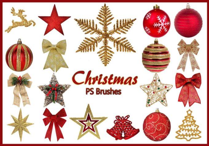 フォトショップ ブラシ 無料 クリスマス オーナメント 飾り 無料 Photoshop Christmas Ornament Brush Free abr 20 Christmas PS Brushes Abr. Vol.13
