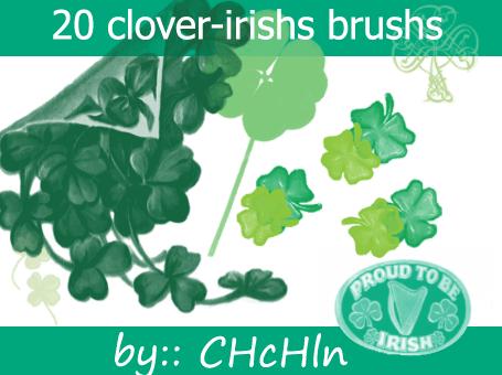 フォトショップ ブラシ Photoshop Clover Brush 無料 イラスト クローバー 四つ葉 20 clovers and irishs brushs
