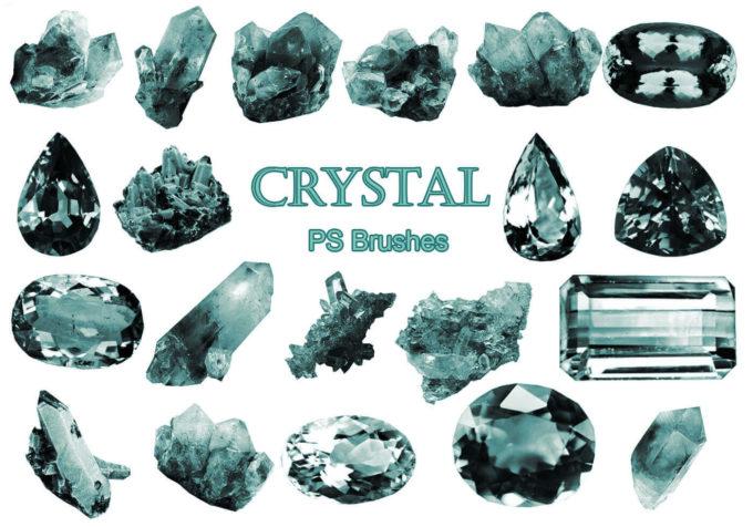 フォトショップ ブラシ Photoshop Glass  Crystal Brush 無料 イラスト ガラス クリスタル 20 Crystal PS Brushes Abr Vol.2