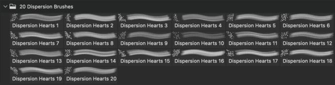 フォトショップ ブラシ 無料 ハート Photoshop Heart Brush Free abr 20 Dispersion Heart PS Brushes Abr. Vol.13