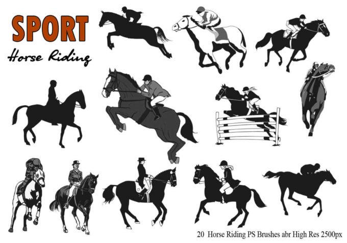 フォトショップ ブラシ Photoshop Horse Brush 無料 イラスト 馬 ホース 乗馬 20 Horse Riding Ps Brushes Abr.
