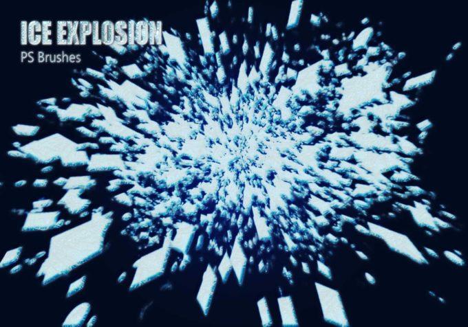 フォトショップ ブラシ Photoshop Ice Frozen Brush 無料 イラスト 氷 アイス 20 Ice Explosion PS Brushes.Abr Vol.2