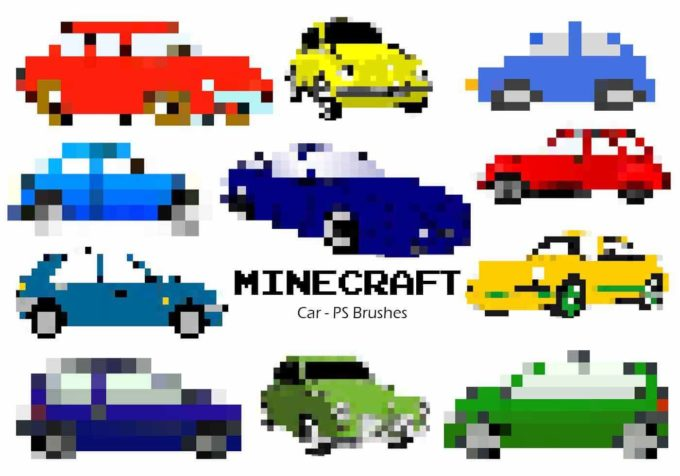 フォトショップ ブラシ Photoshop Car Brush 無料 イラスト 車 カー マインクラフト ピクセル 20 Minecraft Car PS Brushes Abr. Vol.3