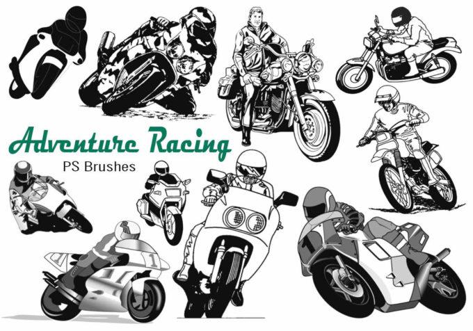 フォトショップ ブラシ Photoshop Bike Brush 無料 イラスト バイク 20 Motorcycle Racing Adventure PS Brushes Abr. Vol.13