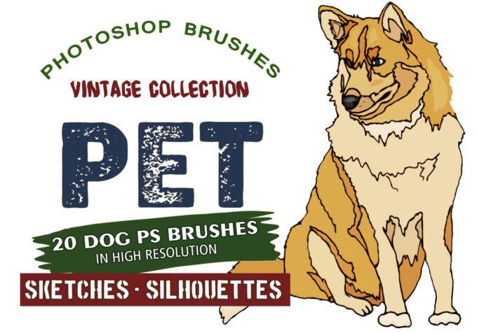 フォトショップ ブラシ Photoshop Dog Brush 無料 イラスト ドッグ 犬 20 Pet Dogs PS Brushes Abr.