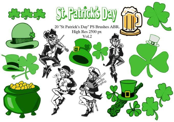 """フォトショップ ブラシ Photoshop Clover Brush 無料 イラスト クローバー 四つ葉 20 20 """"St Patricks Day"""" PS Brushes Abr. Vol.2"""