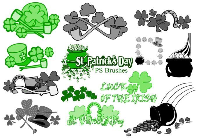フォトショップ ブラシ Photoshop Clover Brush 無料 イラスト クローバー 四つ葉 20 St Patricks Day PS Brushes Abr.Vol.7