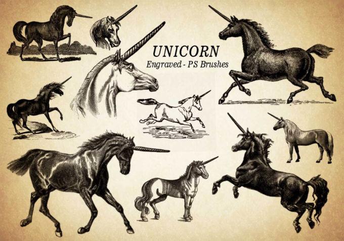 フォトショップ ブラシ Photoshop Unicorn Brush 無料 イラスト ユニコーン 20 Unicorn Engraved PS Brushes Abr. Vol.3