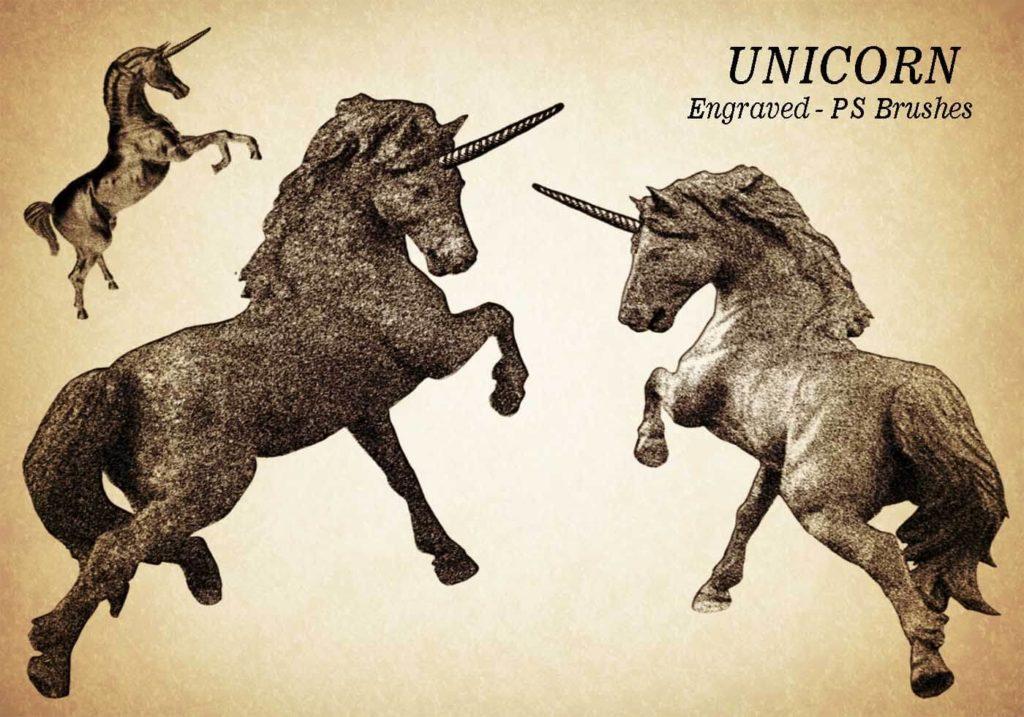 フォトショップ ブラシ Photoshop Unicorn Brush 無料 イラスト ユニコーン 20 Unicorn Engraved PS Brushes Abr. Vol.8