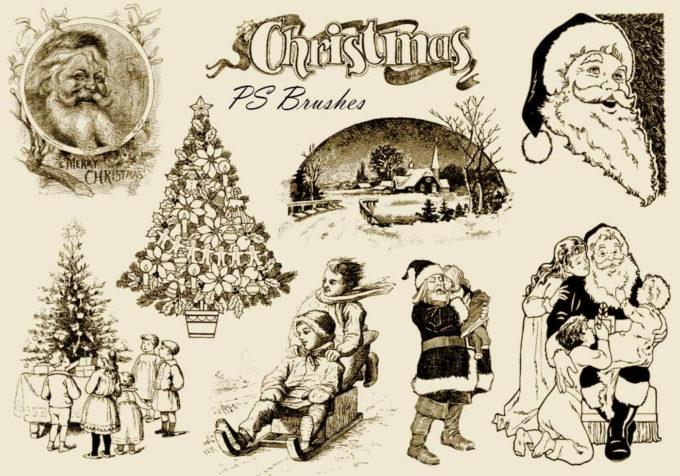 フォトショップ ブラシ 無料 クリスマス 雪だるま 聖夜 Photoshop Christmas Brush Free abr 20 Vintage Christmas PS Brushes Abr. Vol.10