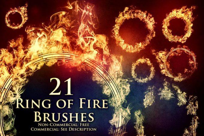 フォトショップ ブラシ Photoshop Brush 無料 イラスト 火 炎 ファイヤー 21 Ring of Fire Brushes