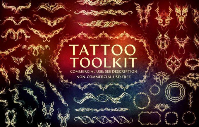 フォトショップ ブラシ Photoshop Tattoo Brush Free abr 無料 イラスト タトゥー 模様 柄 刺青 300 Tattoo Brushes (Toolkit Preview)