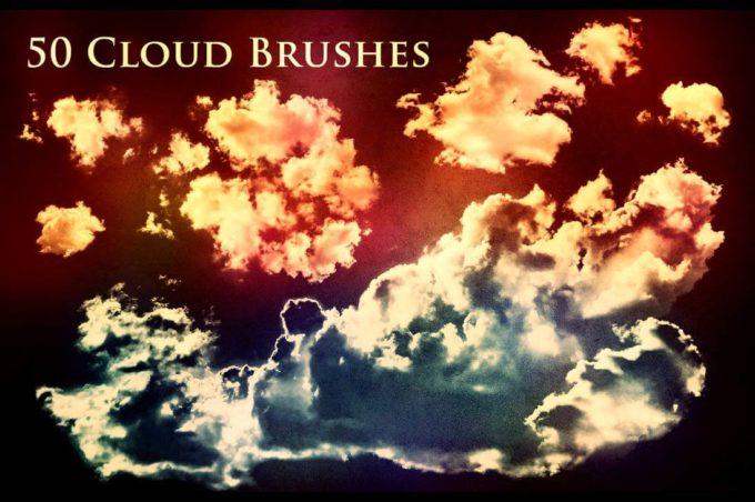 フォトショップ ブラシ Photoshop Brush 無料 イラスト 雲 クラウド 50 Cloud Brushes