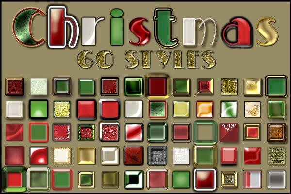 Photoshop Christmas Layer Style フォトショップ クリスマス レイヤースタイル 60 Free Christmas Layer Styles