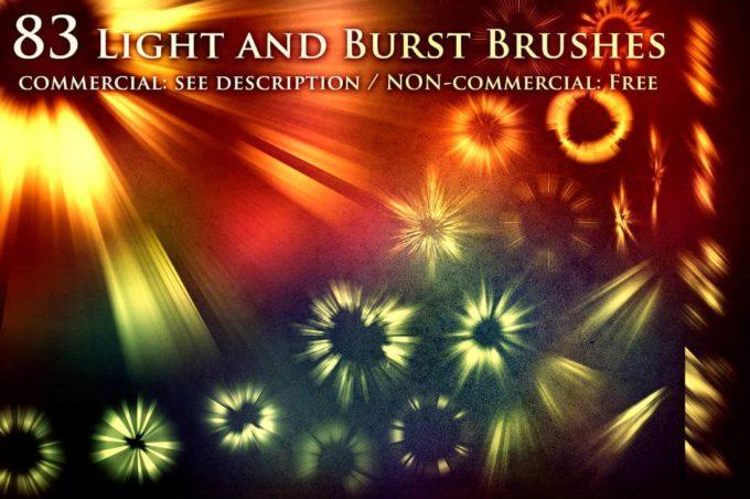 フォトショップ ブラシ Photoshop Brush 無料 イラスト 光 ビーム グリッター 83 Light and Burst Brushes