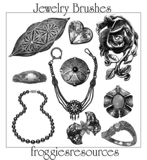 フォトショップ ブラシ Photoshop Accessories Brush 無料 イラスト アクセサリー Assorted Jewelry Brushes