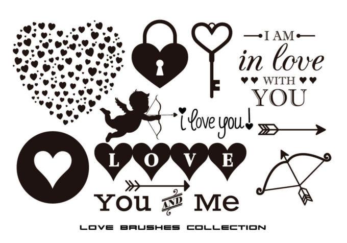 フォトショップ ブラシ 無料 ハート Photoshop Heart Brush Free abr Assorted Love Brushes Collection