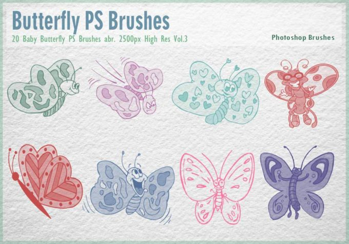 フォトショップ ブラシ Photoshop Butterfly Brush 無料 イラスト 蝶 Baby Butterfly PS Brushes Abr.