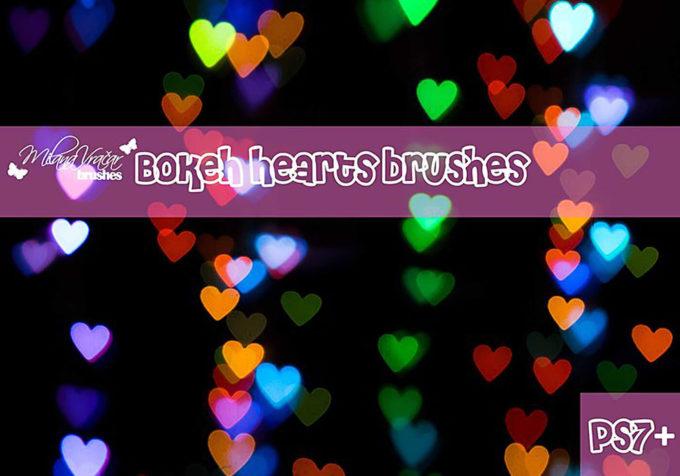 フォトショップ ブラシ 無料 ハート Photoshop Heart Brush Free abr Bokeh Heart Brush Pack By Milana V.