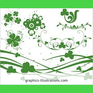 フォトショップ ブラシ Photoshop Clover Brush 無料 イラスト クローバー 四つ葉 St. Patrick's Day themed Photoshop Brushes
