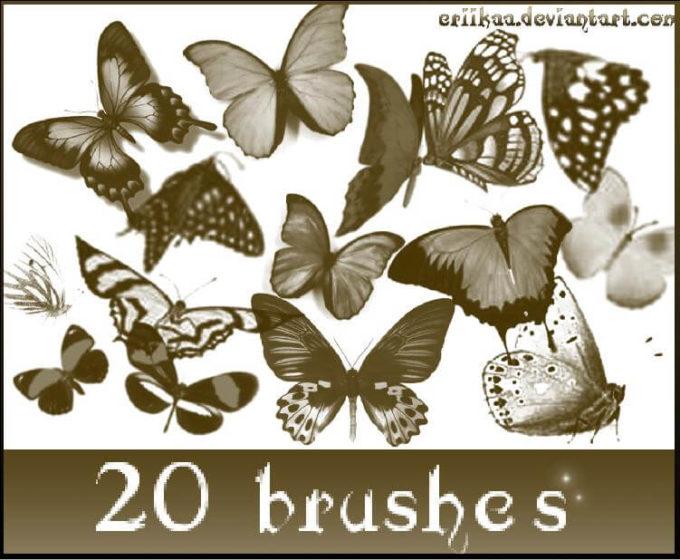 フォトショップ ブラシ Photoshop Butterfly Brush 無料 イラスト 蝶 Butterfly Brushes