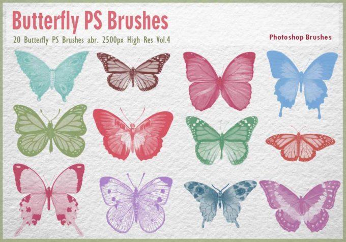 フォトショップ ブラシ Photoshop Butterfly Brush 無料 イラスト 蝶 Butterfly PS Brushes Abr.