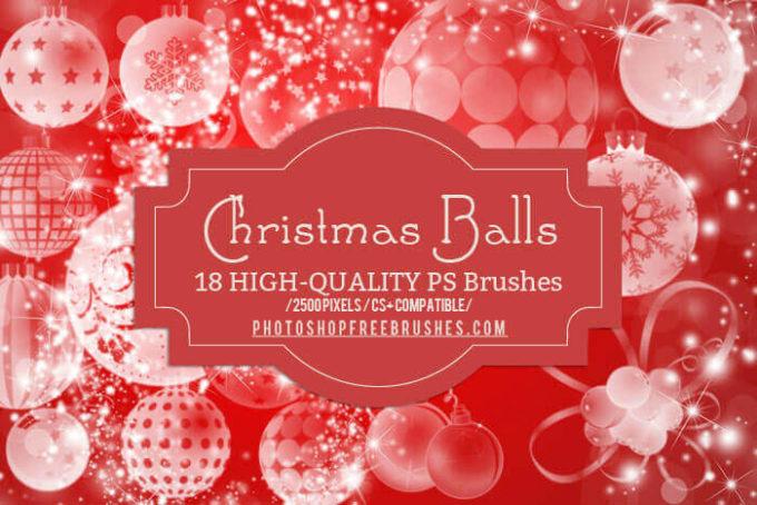 フォトショップ ブラシ 無料 クリスマス オーナメント 飾り 無料 Photoshop Christmas Ornament Brush Free abr 18 Christmas Balls Decoration PS Brushes