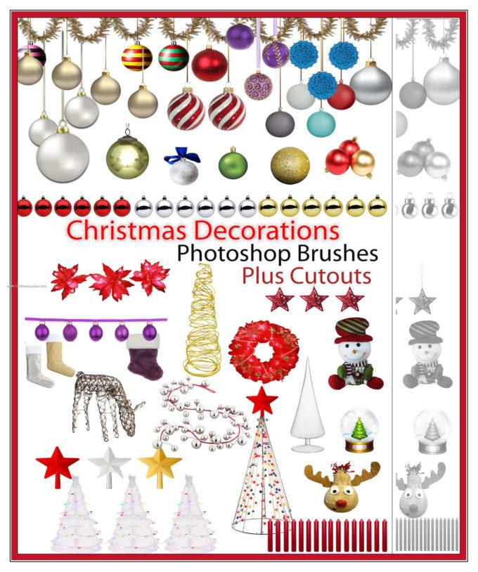 フォトショップ ブラシ 無料 クリスマス オーナメント 飾り 無料 Photoshop Christmas Ornament Brush Free abr Christmas Decorations Cutouts