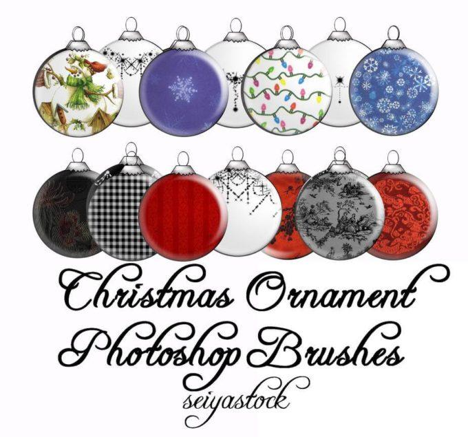 フォトショップ ブラシ 無料 クリスマス オーナメント 飾り 無料 Photoshop Christmas Ornament Brush Free abr Christmas Ornament PS Brushes