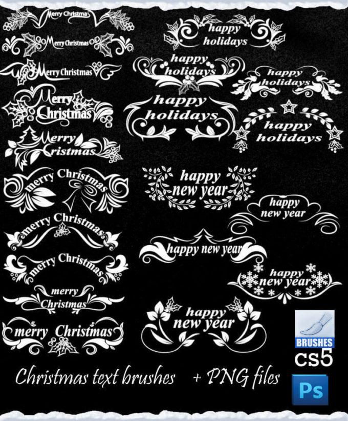 フォトショップ ブラシ 無料 クリスマス ラベル テキスト Photoshop Christmas Label Brush Free abr Christmas Text Decoration