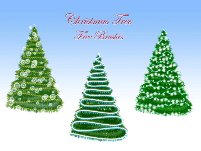 フォトショップ ブラシ 無料 クリスマス  クリスマスツリー Photoshop Christmas Tree Brush Free abr Christmas Tree Free Brushes