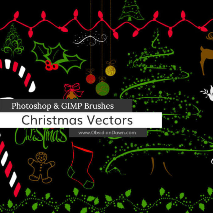 フォトショップ ブラシ 無料 クリスマス サンクロース 聖夜 Photoshop Santa Claus Brush Free abr Christmas Vector Photoshop and GIMP Brushes