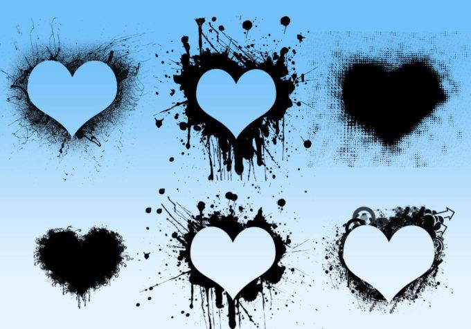 フォトショップ ブラシ 無料 ハート Photoshop Heart Brush Free abr Damned Hearts