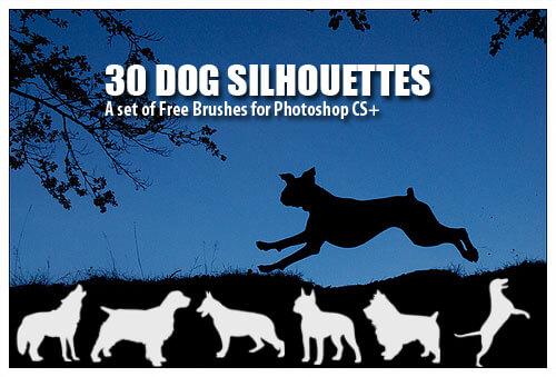 フォトショップ ブラシ Photoshop Dog Brush 無料 イラスト ドッグ 犬 30 Dog Silhouettes Photoshop Brushes