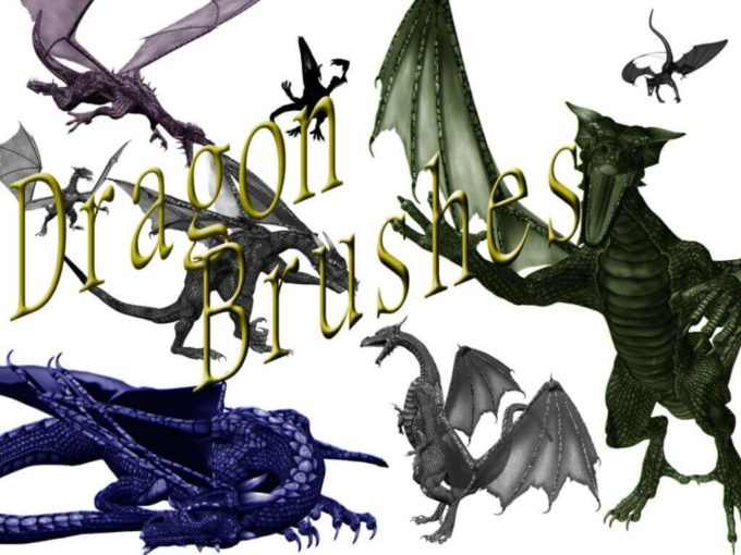 フォトショップ ブラシ Photoshop Dragon Brush Free abr 無料 イラスト ドラゴン 竜 龍 Dragon Brushes