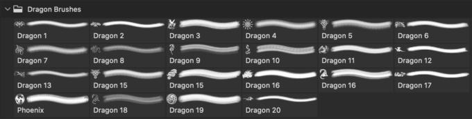 フォトショップ ブラシ Photoshop Dragon Brush Free abr 無料 イラスト ドラゴン 竜 龍 Dragon Brush Set