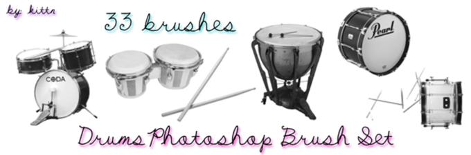 フォトショップ ブラシ Photoshop Musical instrument Brush 無料 イラスト 音楽 楽器 ドラム Drum Brushes for PhotoshopCS3