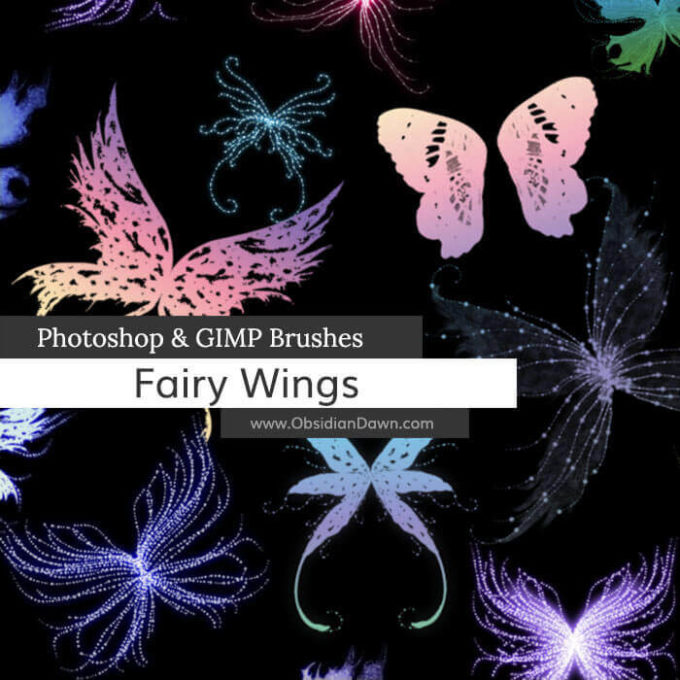 フォトショップ ブラシ Photoshop Butterfly Brush 無料 イラスト 蝶 Fairy Wings Photoshop and GIMP Brushes