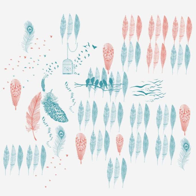 フォトショップ ブラシ Photoshop Bird feather Brush 無料 イラスト 鳥 バード Feathers and Birds Brushes