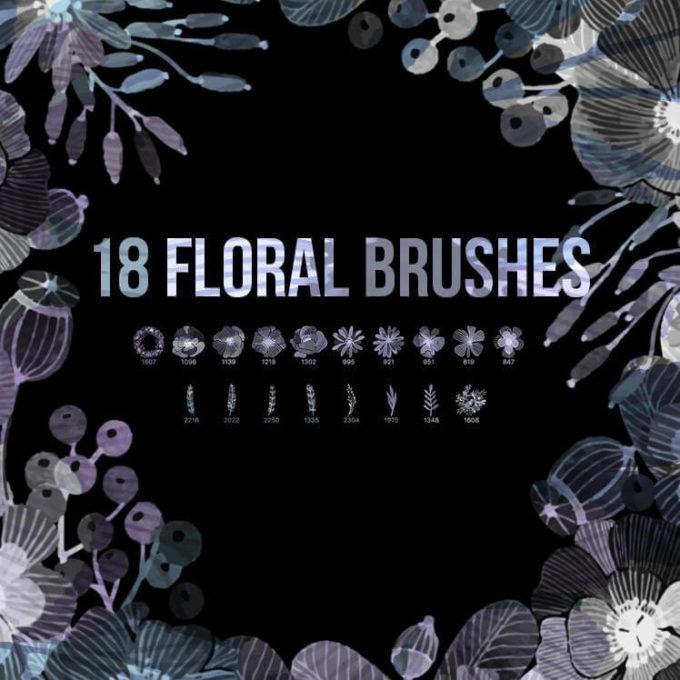 フォトショップ ブラシ Photoshop Brush 無料 Flower イラスト 花 フラワー フローラル 18 Floral PS Brushes