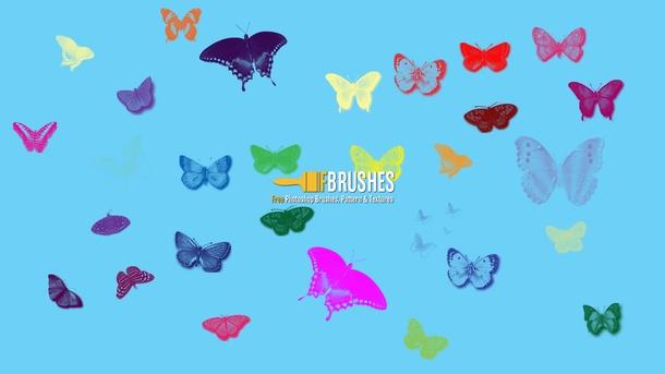 フォトショップ ブラシ Photoshop Butterfly Brush 無料 イラスト 蝶 Flutterbies