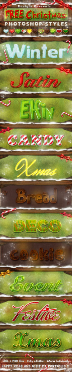 Photoshop Christmas Text Effect Xmas フォトショップ クリスマス テキストエフェクト FREE Christmas Photoshop Styles - Text Effects