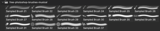 フォトショップ ブラシ Photoshop Musical instrument Brush 無料 イラスト 音楽 楽器 15 Musical Instruments Photoshop Brushes Part 1
