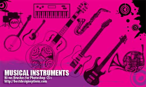 フォトショップ ブラシ Photoshop Musical instrument Brush 無料 イラスト 音楽 楽器 15 Musical Instruments Photoshop Brushes Part 2