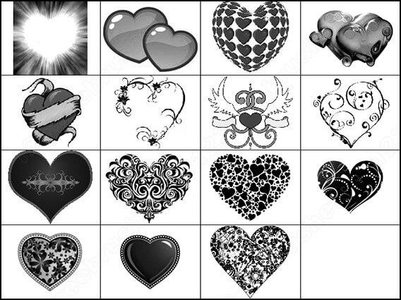 フォトショップ ブラシ 無料 ハート Photoshop Heart Brush Free abr Free Photoshop Floral Heart Brushes