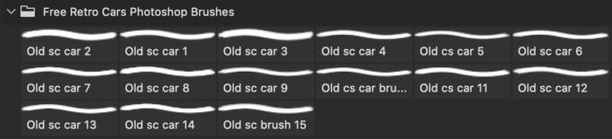 フォトショップ ブラシ Photoshop Car Brush 無料 イラスト 車 カー Free Retro Cars Photoshop Brushes