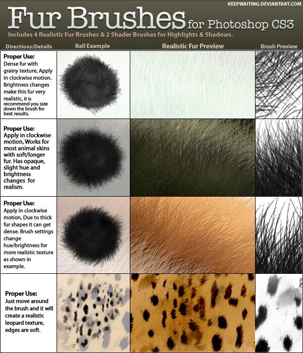 フォトショップ ブラシ テクスチャ キャンパス Photoshop Brush 無料 イラスト 毛 毛皮 FUR BRUSHES - PHOTOSHOP CS3