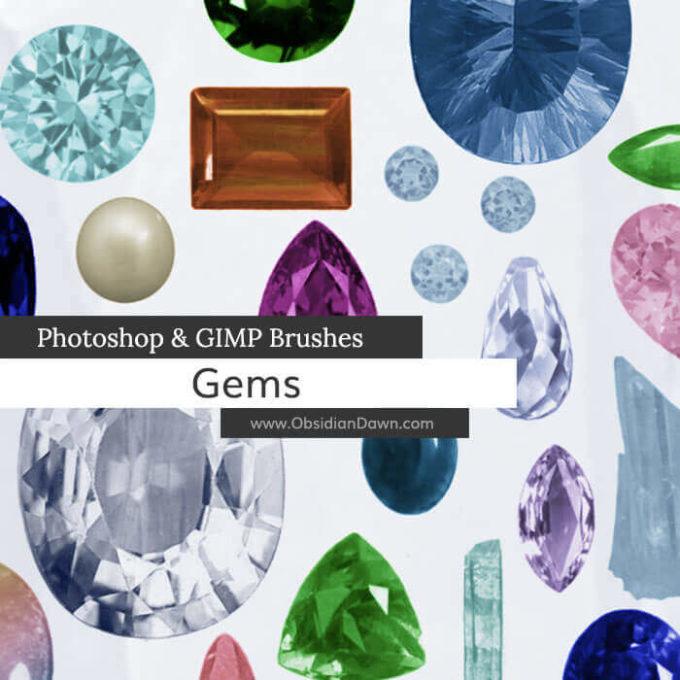 フォトショップ ブラシ Photoshop Jewelry Brush 無料 イラスト 宝石 ジェム Gems and Stones Photoshop and GIMP Brushes